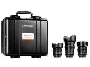Kit 3 objetivos Samyang V-DSLR EF: 14mm, 35mm y 85mm