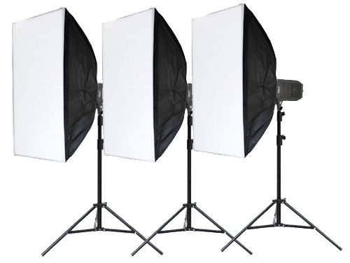 Kit 3 focos LED 1000W 5400K con Softbox