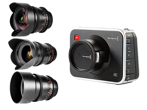 Blackmagic Cinema 4K EF + Objetivos Samyang V-DSLR 14/35/85mm
