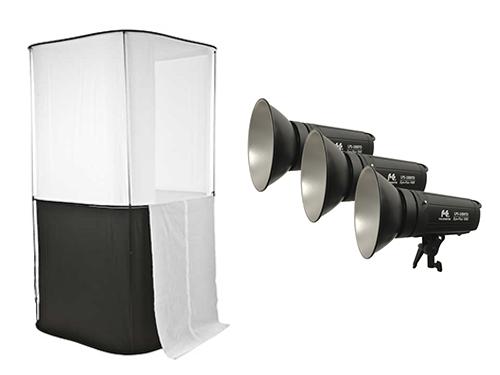 Kit mesa Cubelite Studio Lastolite 100cm + 3 focos LED bicolor FalconEyes LPS-1000TD