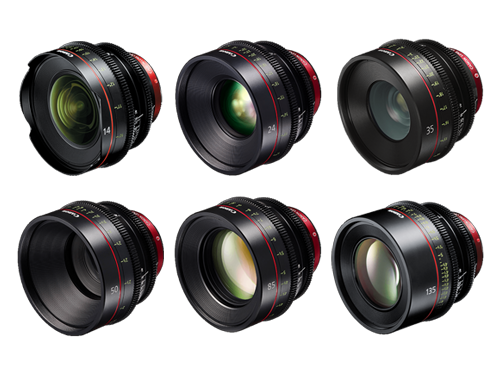 Kit 6 objetivos Canon CN-E: 14mm, 24mm, 35mm, 50mm, 85mm y 135mm