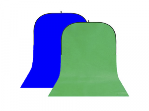 Fondo plegable con faldón azul-verde Chromakey 150x400cm