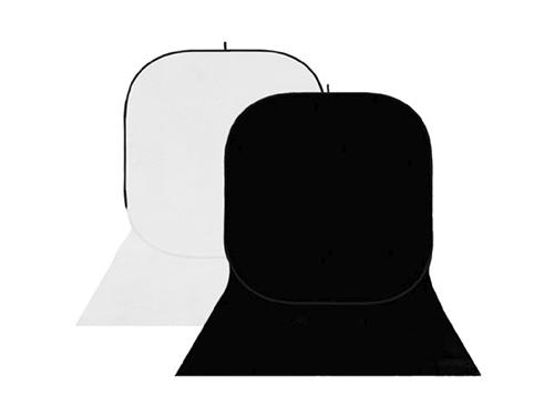 Fondo plegable con faldón blanco-negro 150x400cm