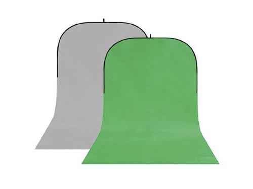Fondo plegable con faldón gris-verde Chromakey 150x400cm