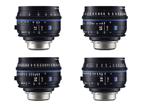 Kit 4 objetivos Zeiss Compact Prime CP.3. 21mm, 35mm, 50mm y 85mm