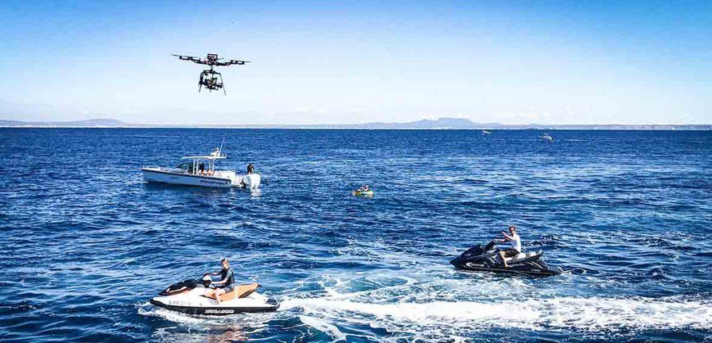 Rodaje con drone sobre el mar en Mallorca